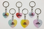 Jewell Colored Acrylic Heart Key Tag - Large and Small