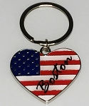 USA Heart Flag Key Tag