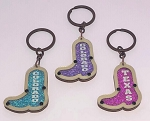Wood Boot Key Tag w/Jewel Color Beads