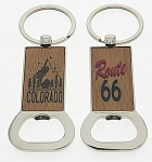 Economy Wood Key Tag w/Metal Trim - Bottle Opener