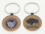 Economy Wood Key Tag w/Metal Trim - Circle