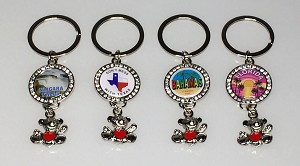 Bling Circle Key Tag w/Dangling Teddy Bear Charm